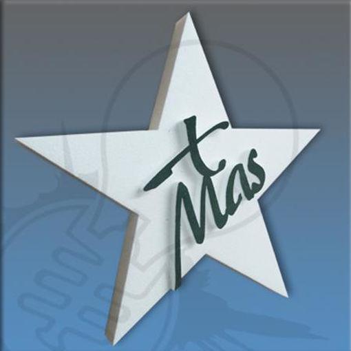 Stella natalizia con scritta xmas 25x25cm